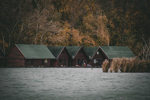 Green and Brown Wooden House Near Body of Water