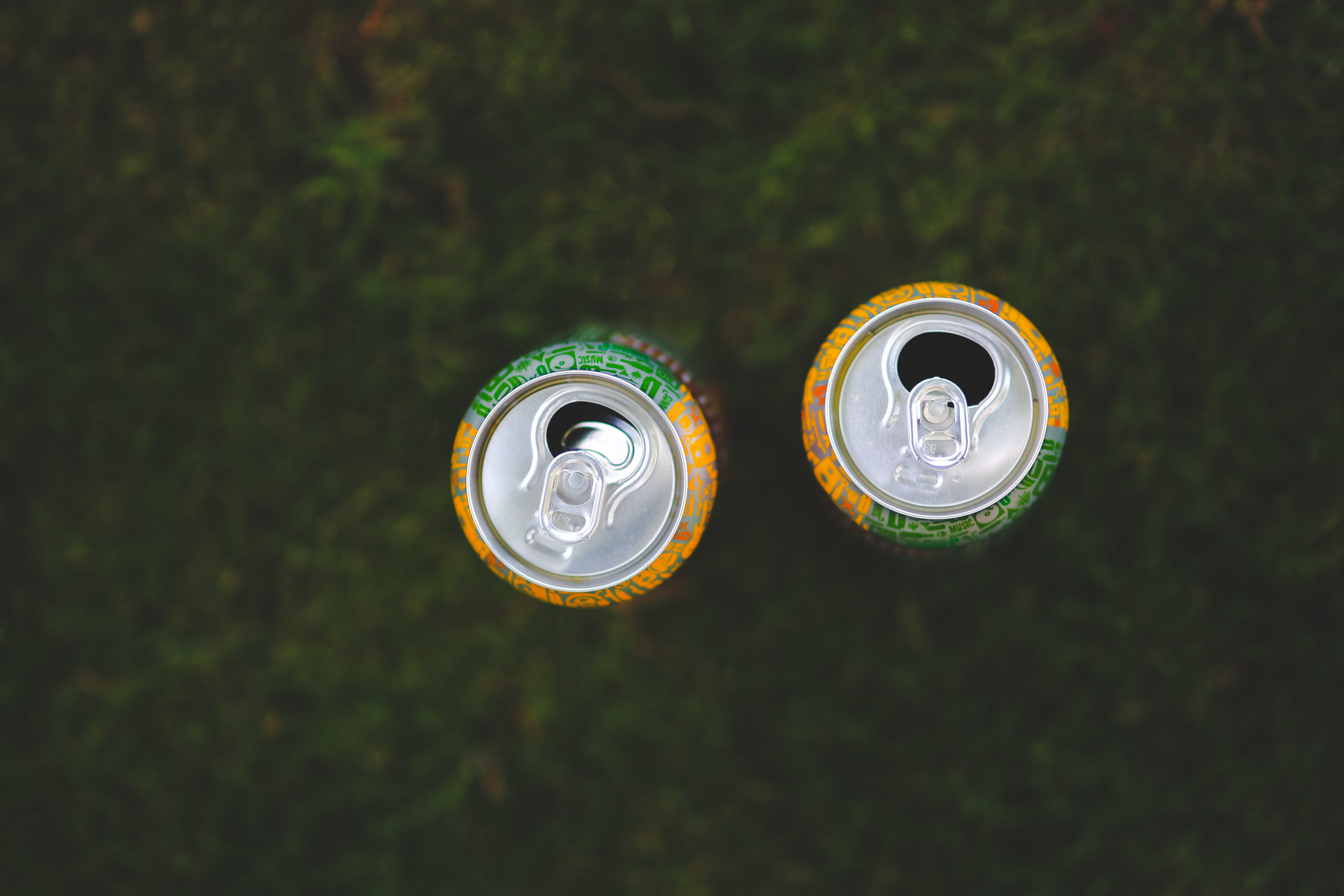 Cans in the grass
