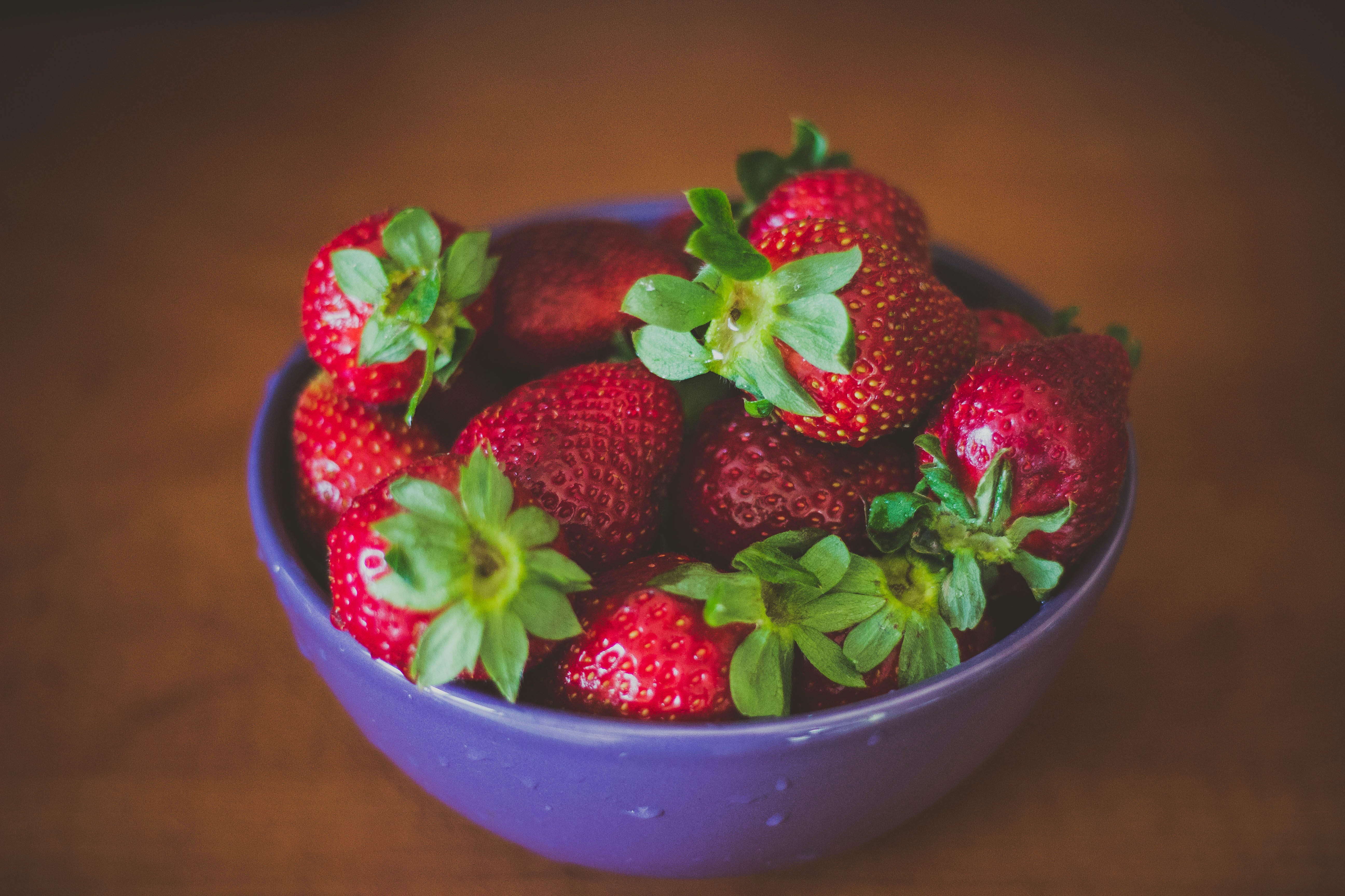 Blue Round Bowl of Fresh Strawberries