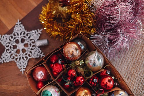 Christmas Ornaments on Surface