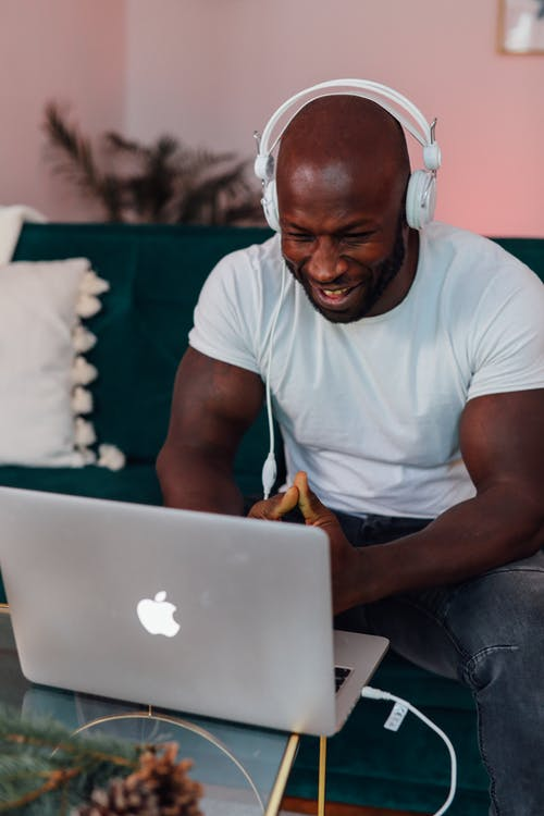 Man in White Crew Neck T-shirt on Video Call