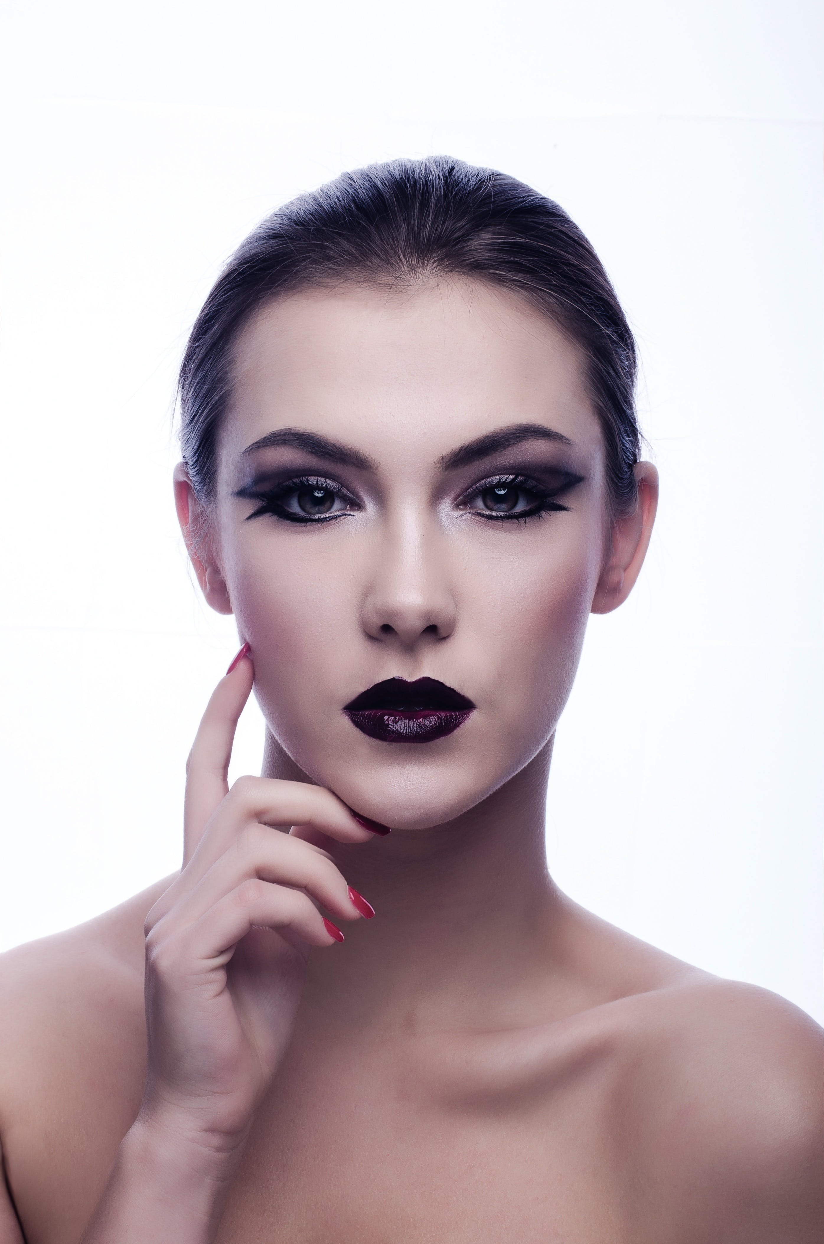 Naked Woman in Black Eyeliner and Maroon Lips