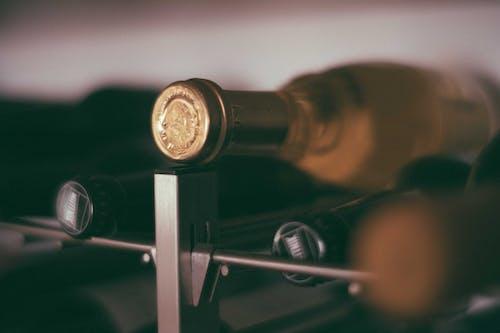 Bottles of wine on rack