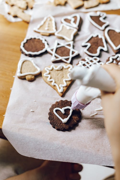 Brown Cookie with Heart Shape Icing