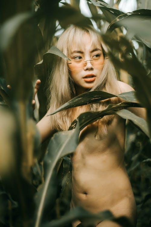 Young sensual nude ethnic lady in eyewear looking away among green plants in daylight