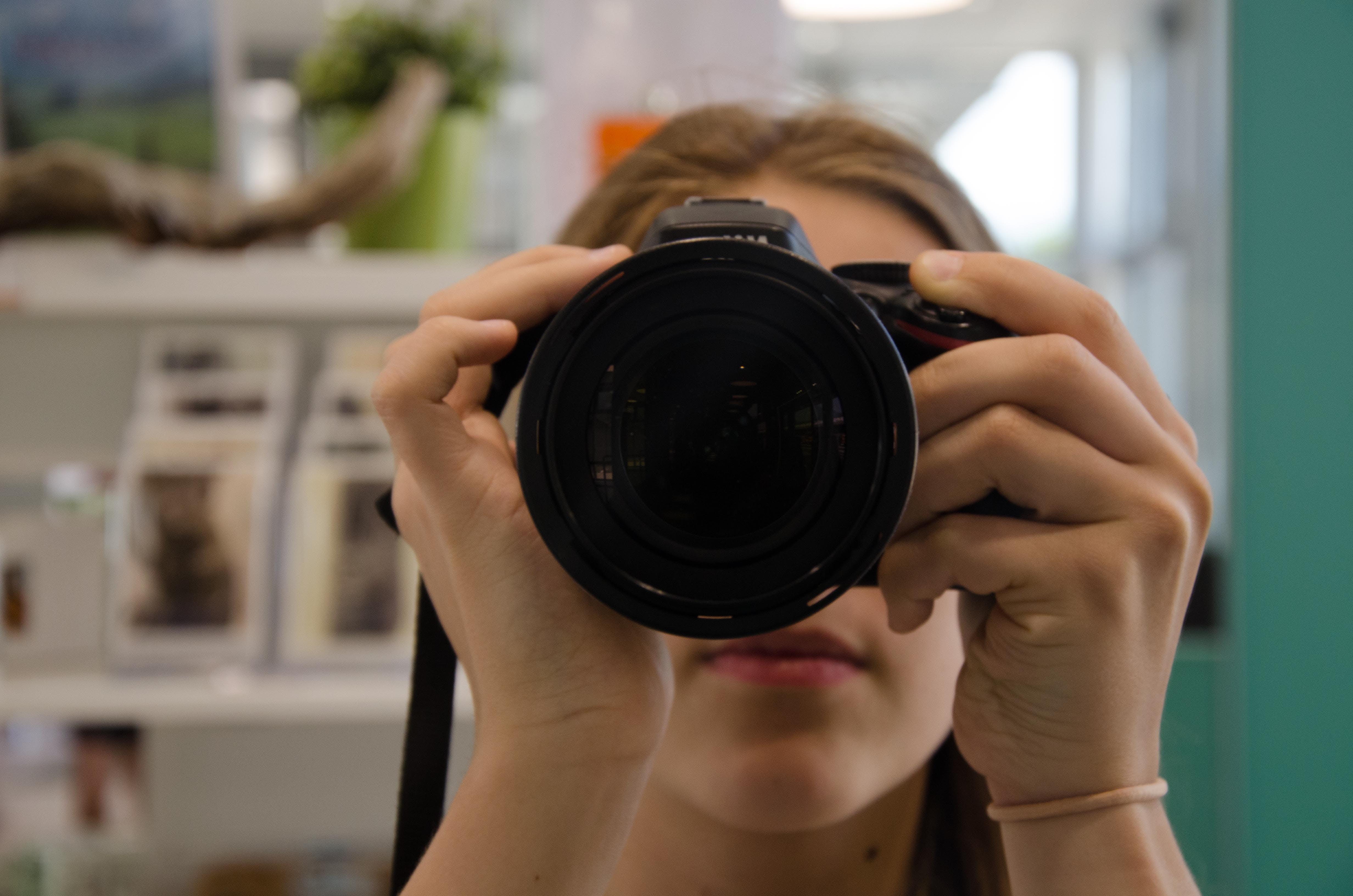 Free stock photo of camera, camera lens, girl, photo