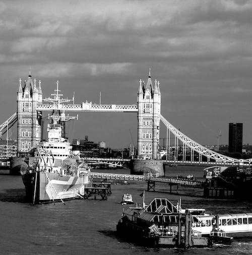 倫敦, 單色, 塔, 塔橋 的 免费素材照片
