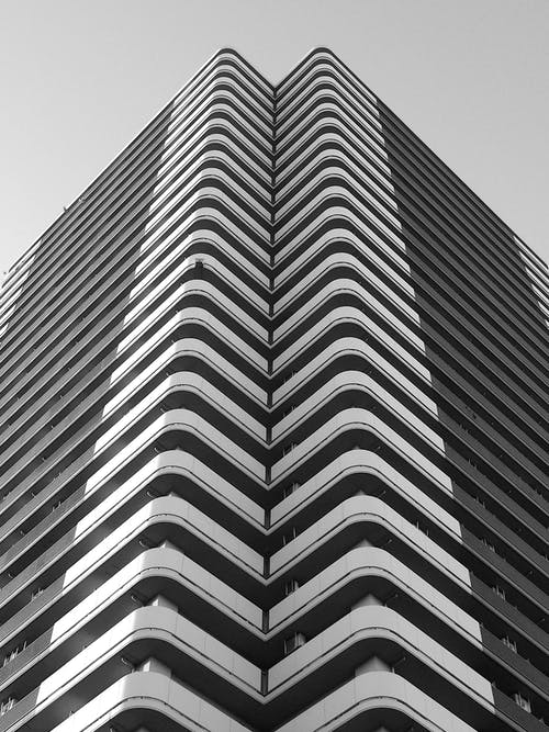 Modern high building in city street