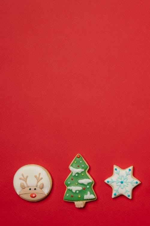 Traditional Christmas biscuits decorated with icing