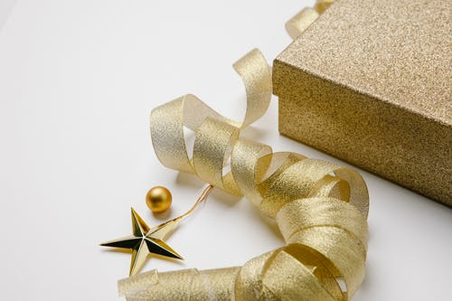 Christmas composition with gift box and baubles