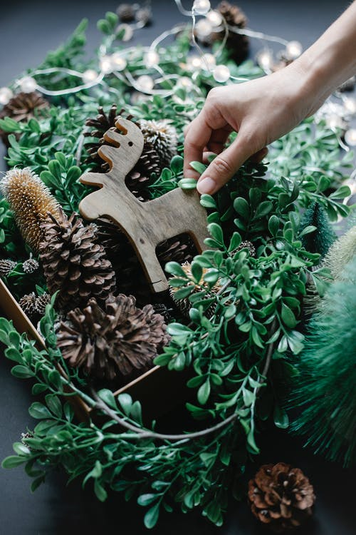 Crop anonymous person demonstrating wooden bauble while decorating room with pine cones and leaves