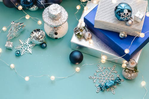 Shiny baubles and gift boxes for Christmas