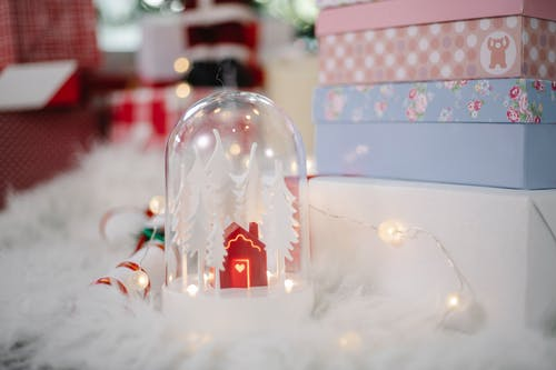 Christmas decoration with stack of boxes for gifts