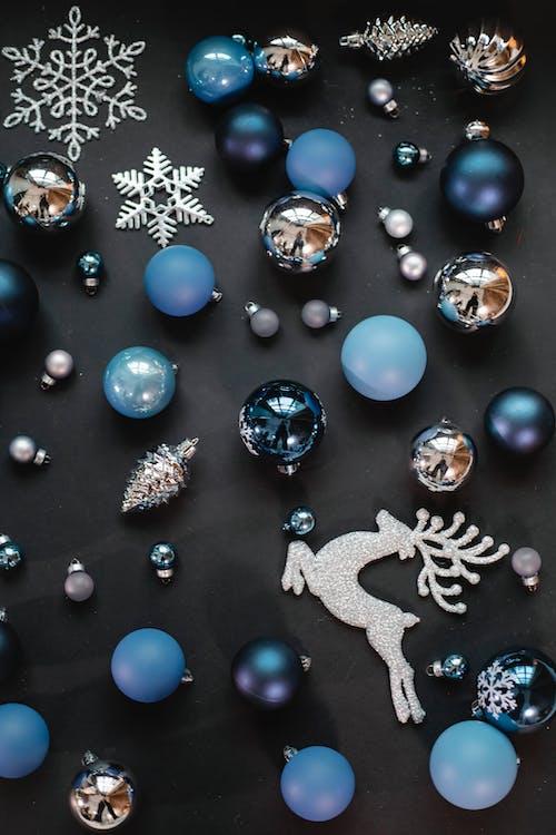 Christmas decorative objects on black background