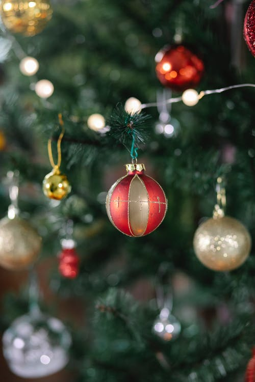 Fir tree with balls and garland during Christmas celebration