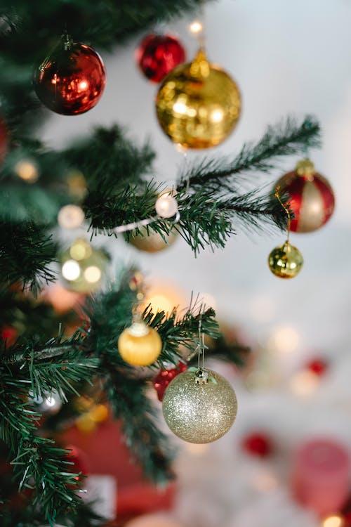 Bolas Douradas E Vermelhas Na árvore De Natal Verde