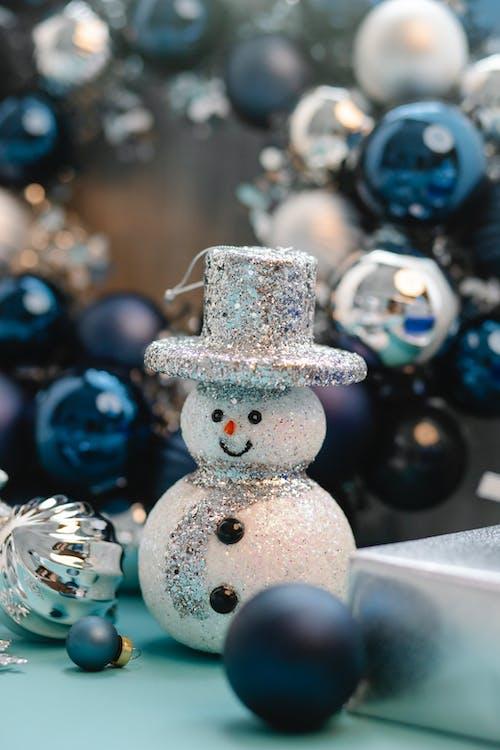 Ornamento De Boneco De Neve Branco E Azul
