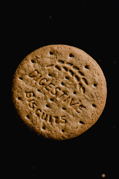Brown Round Biscuit with Black Background