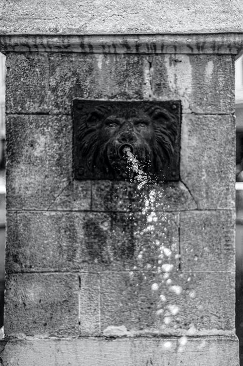 Water Fountain in Gray Scale Photography