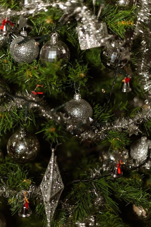 Silver Christmas Balls on a Tree