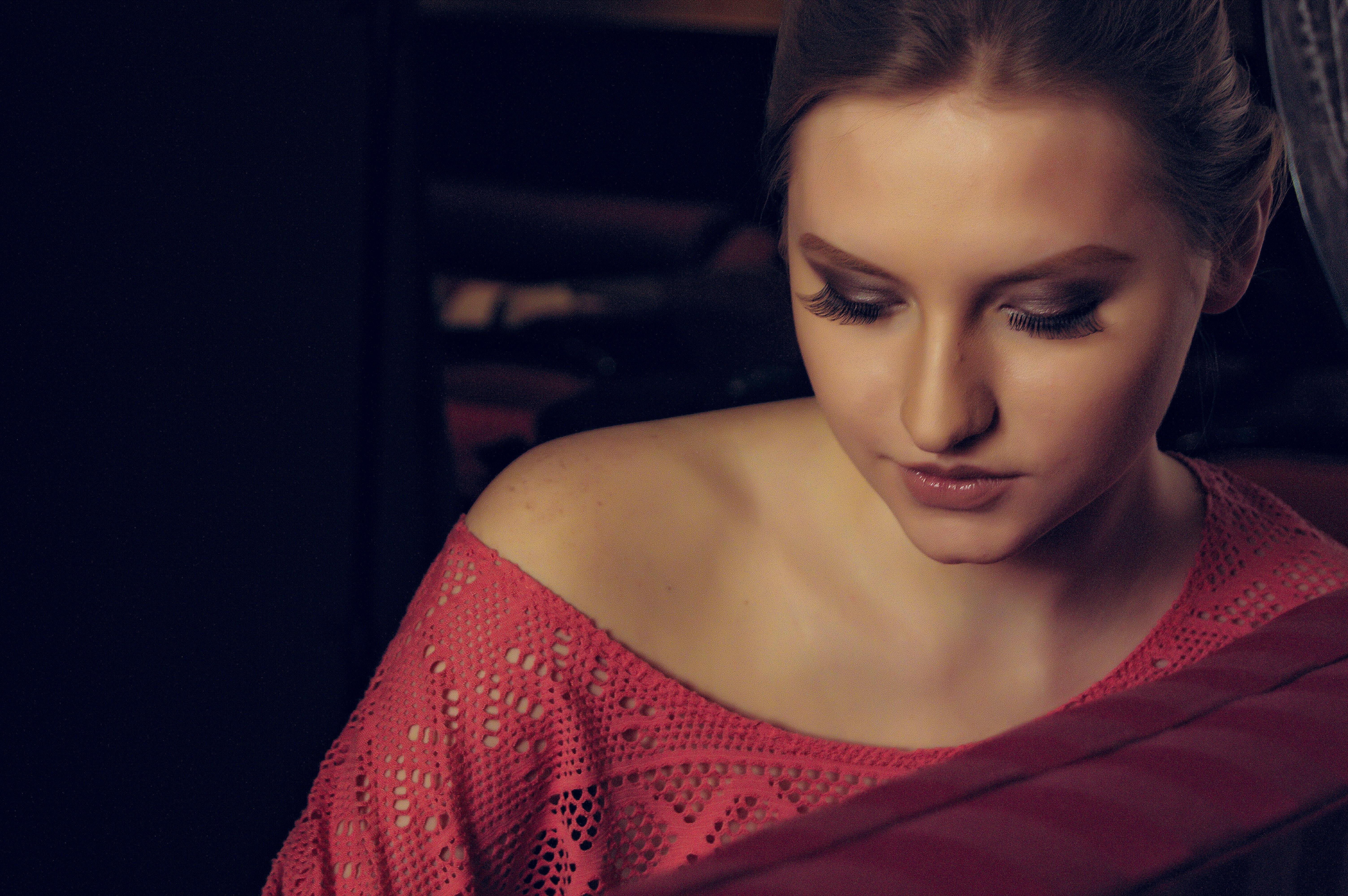 Woman in Red Off-shoulder Top