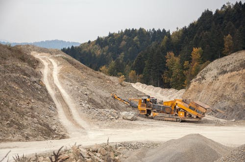 Crusher machine in open pit