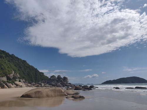Free stock photo of blue sea, blue sky, green, rocks formation