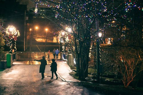 Back view of unrecognizable people in warm clothes walking on street with streetlamps and glowing garlands on trees