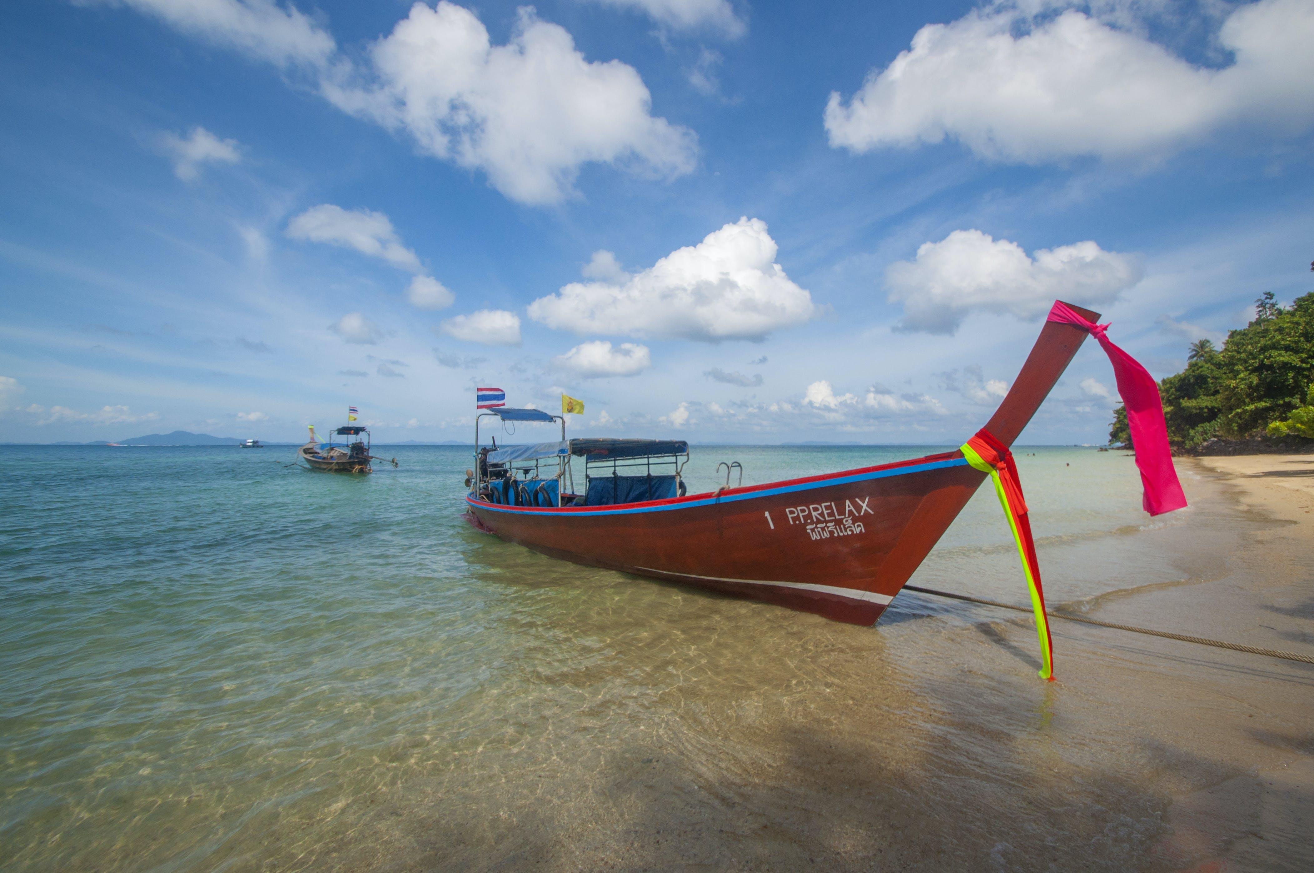 Free stock photo of arrive, beach, blue, boat