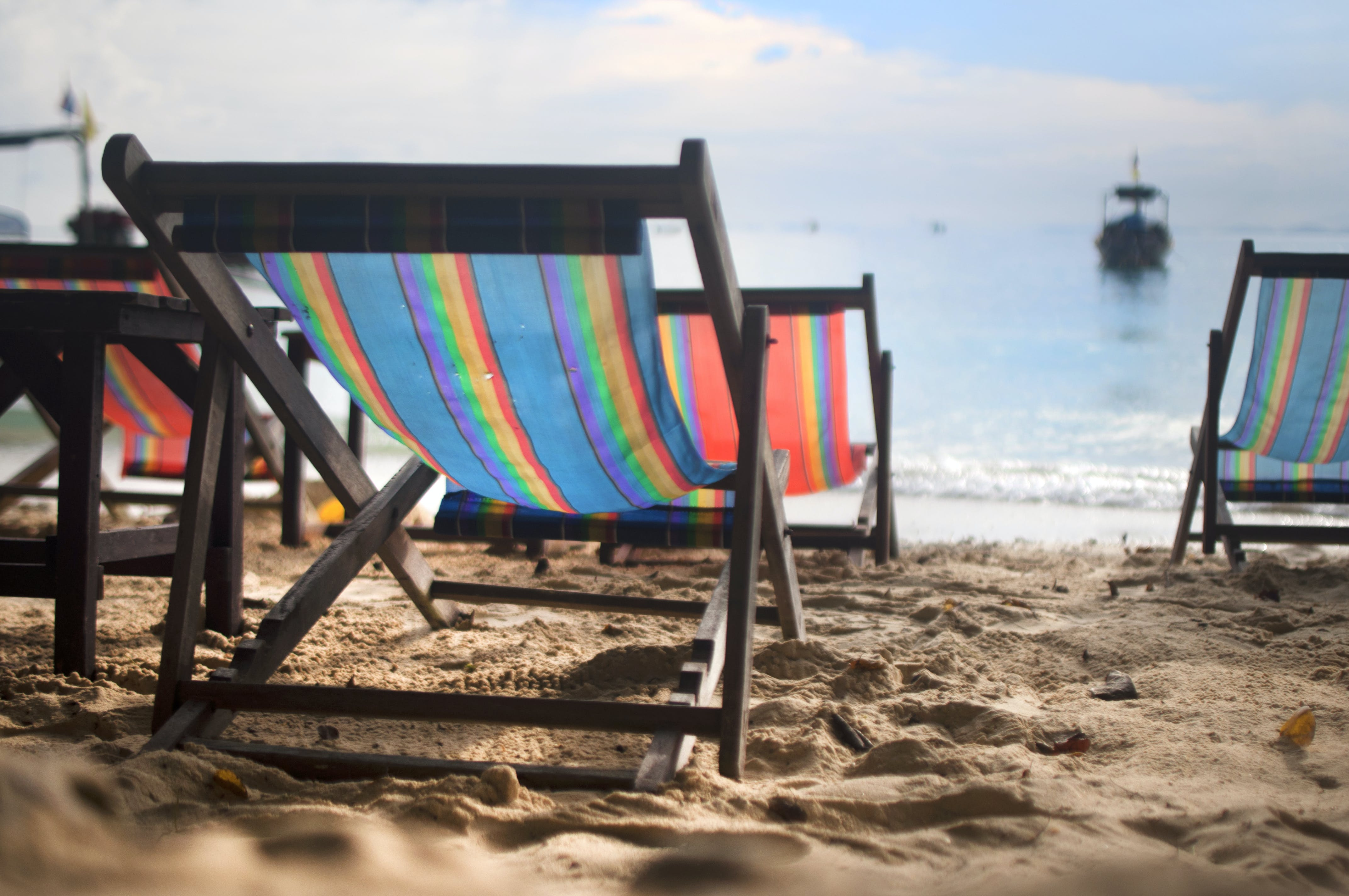 Free stock photo of beach, boat, chair, chill