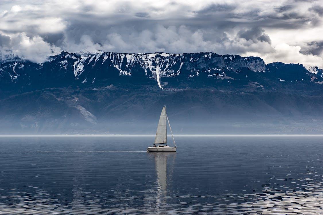 båt, dimma, dimmig
