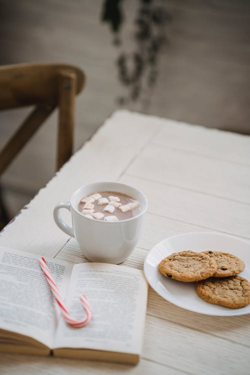 From above of tasty sweet cookies and cocoa with marshmallow on table with book