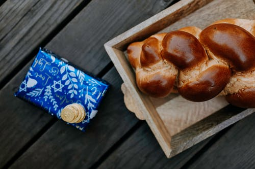 Photo Of Bread On Wooden Tray Beside A Gift Box
