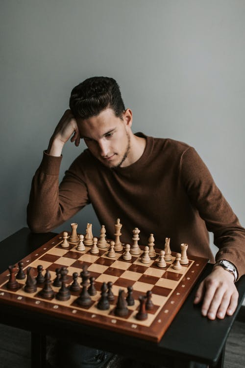 Man in Brown Crew Neck Long Sleeve Shirt Playing Chess