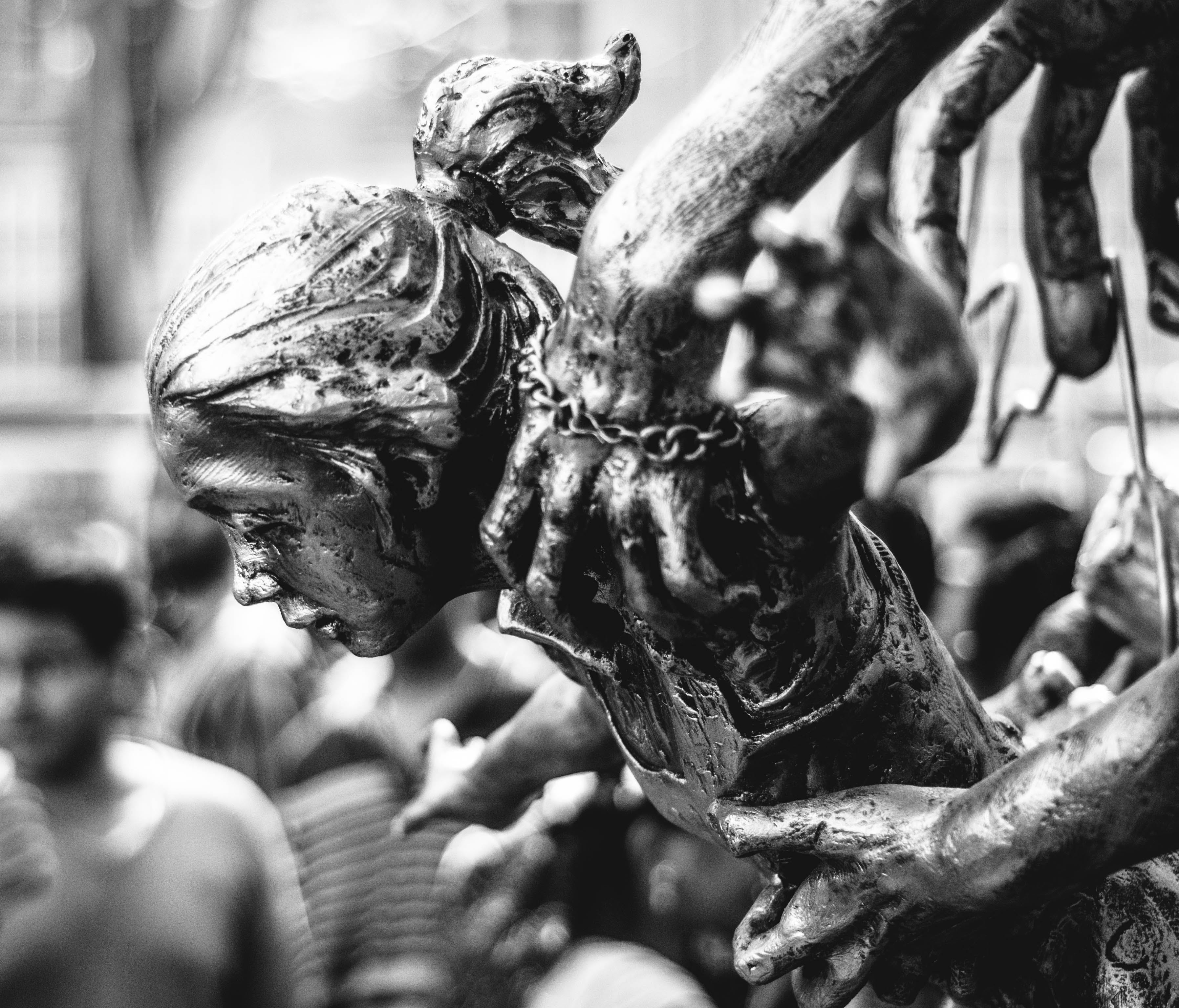 Free stock photo of black-and-white, girl, emotions, statue