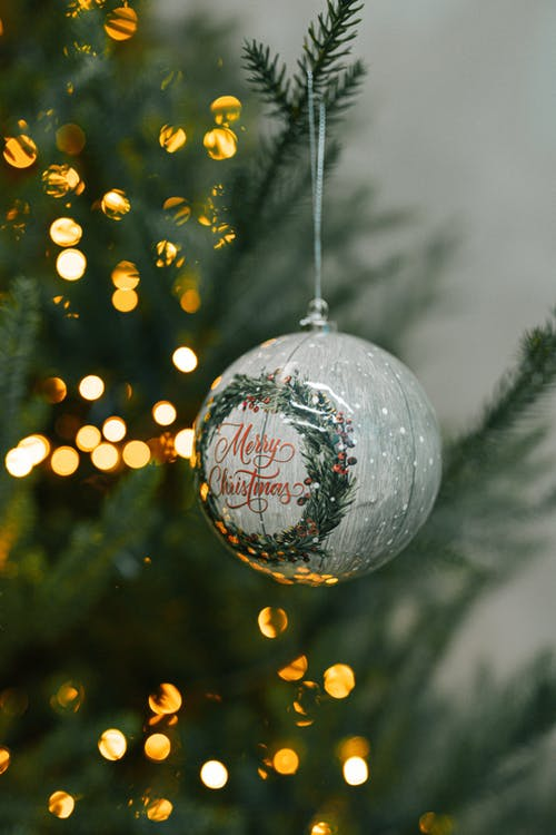 White and Red Christmas Bauble