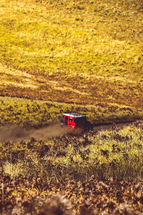 Red and Black Truck on Yellow Field
