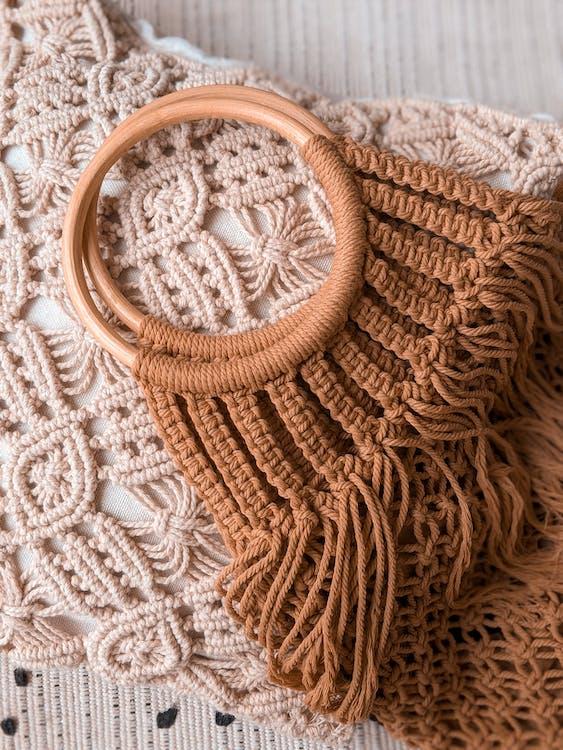 Brown Knit Textile on White Textile