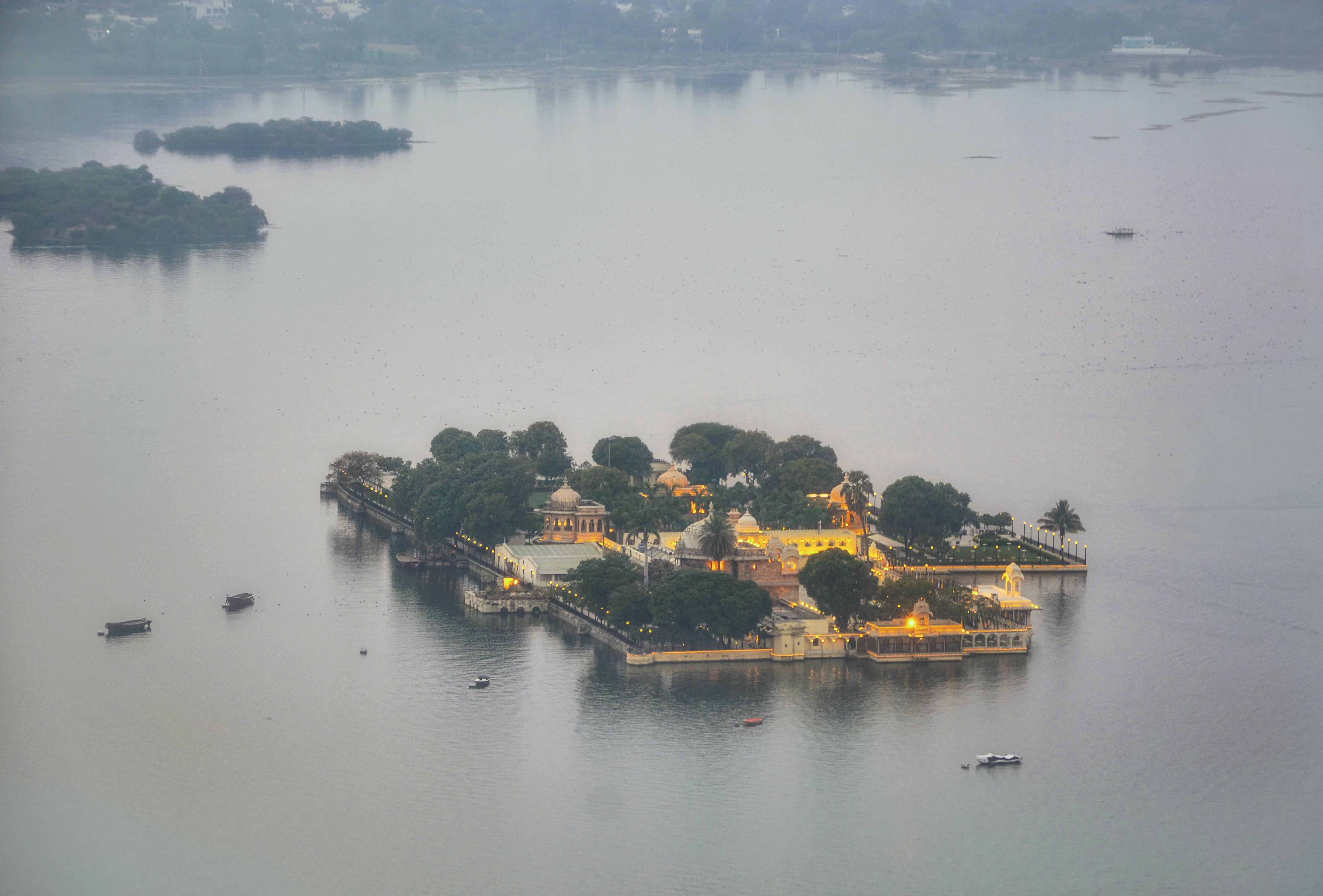 Free stock photo of aerial shot, dusk, island hotel, lake