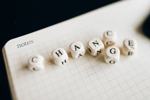 A Close-Up Shot of Letter Dice on an Open Notebook