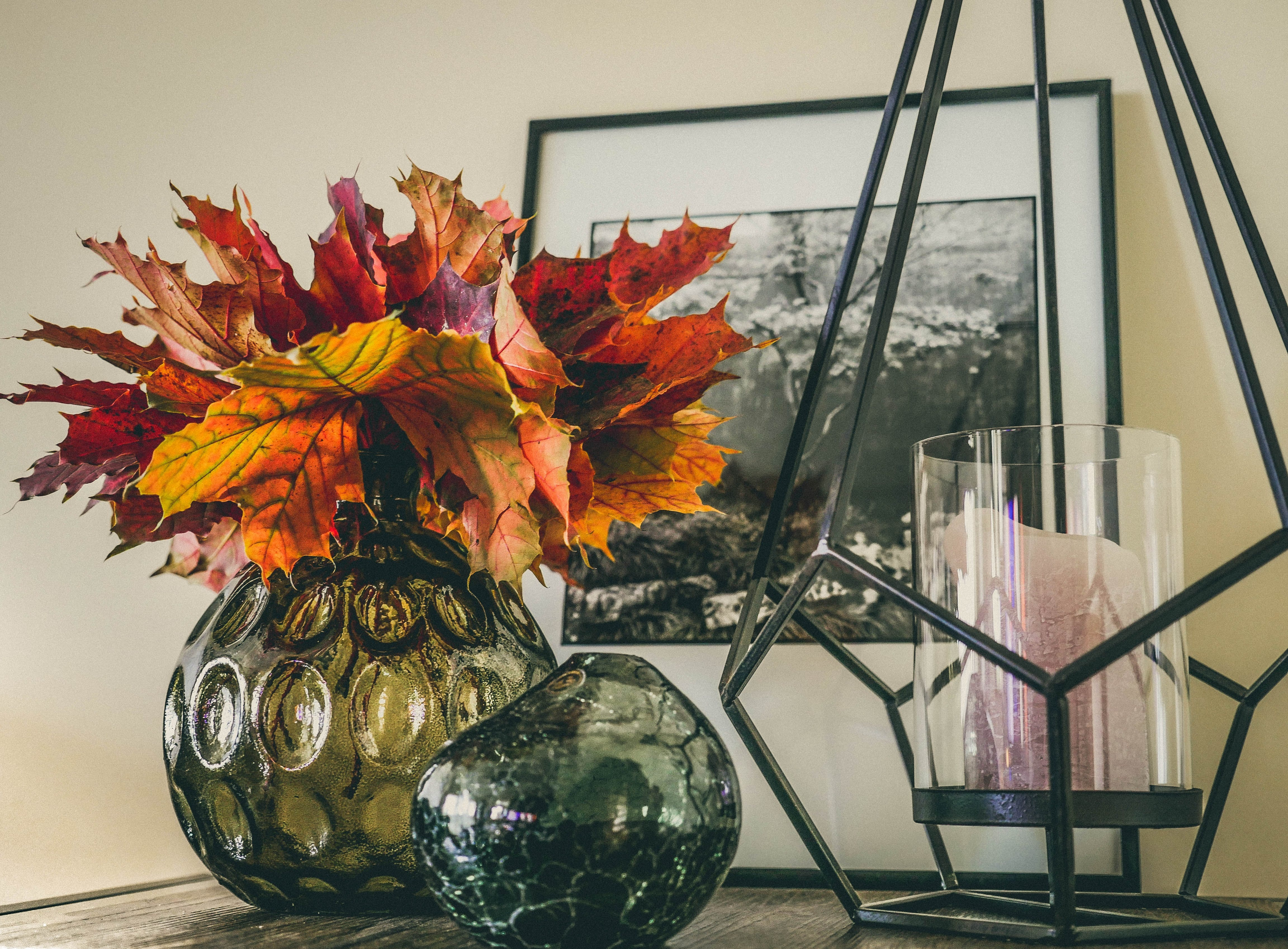 Free stock photo of autumn, autumn colours, candle, composition