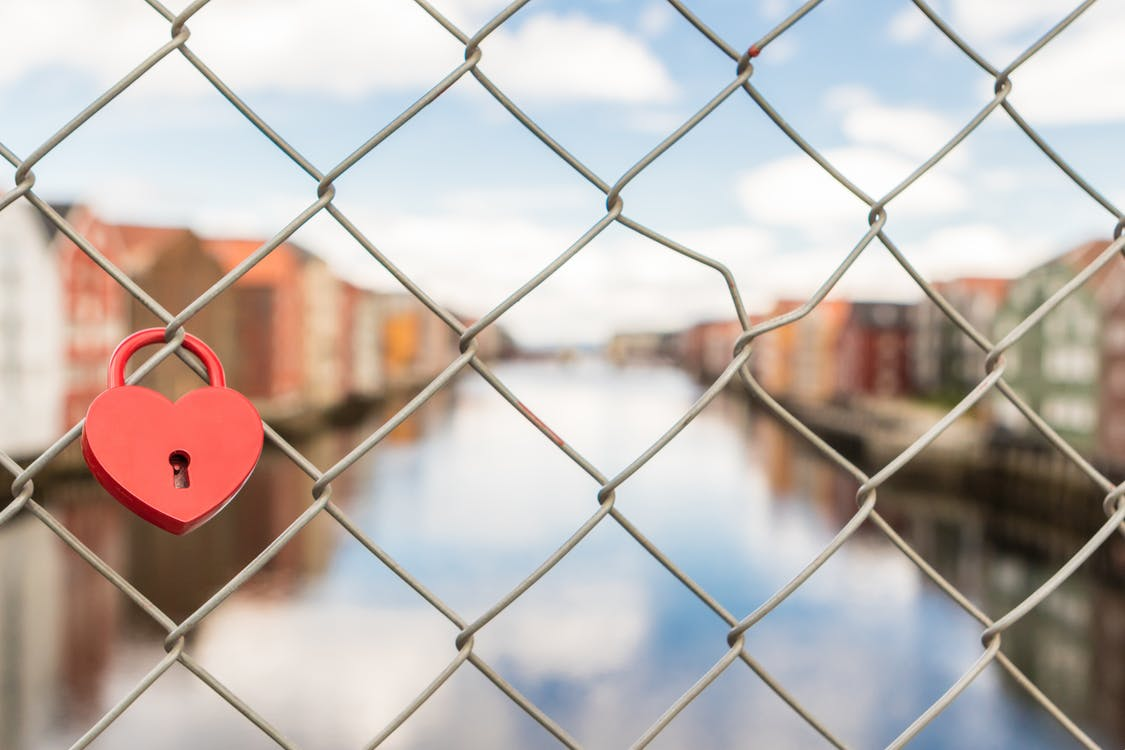 Red Lock in Gray Link Fence