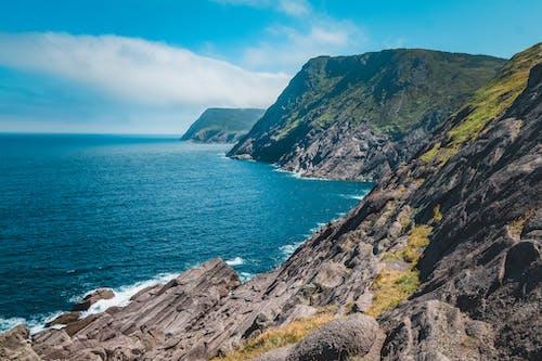 Rocky coast of serene sea in sunlight