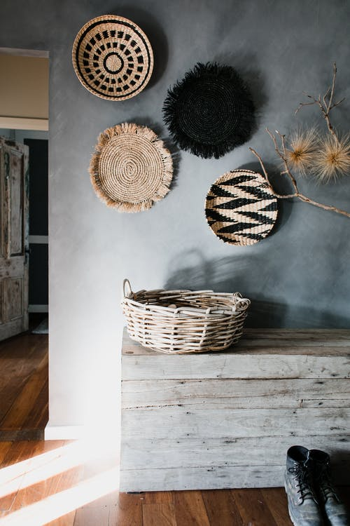 Brown Woven Basket on White Wooden Table