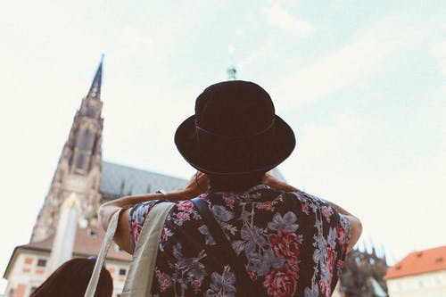 Person in Black Hat Sightseeing