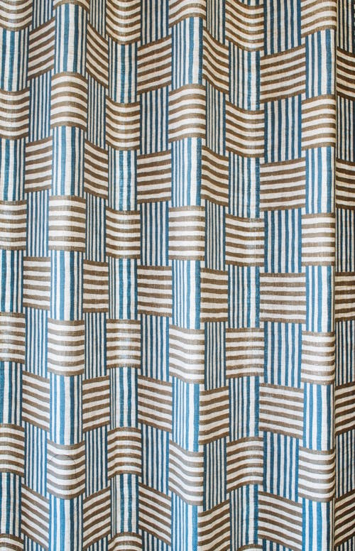 White and Blue Checkered Textile