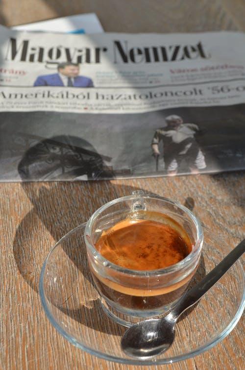 Free stock photo of coffee, newspaper, spoon