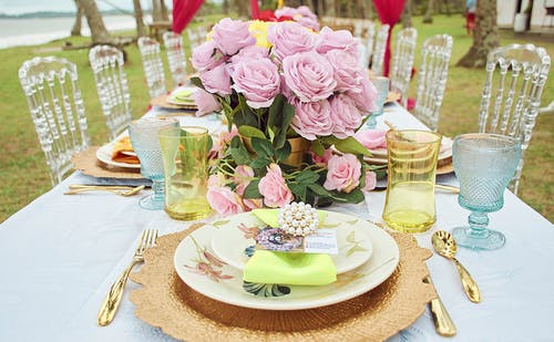 Pink Roses on White Ceramic Plate