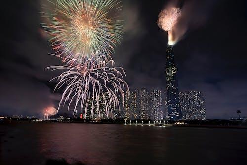 Amazing fireworks in night sky
