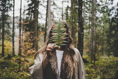 Woman Standing at Woods Holding Green Plant